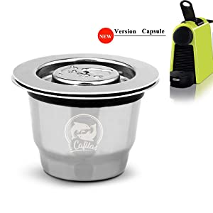 i Cafilas Stainless Steel Reusable Capsules Refillable Crema Coffee Capsules Pods With Reusbale Lids Compatible for Nespresso Machines