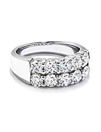 Pretty Jewellery Double Row Wedding Band Ring in 14K White Gold Over Sterling Silver Round Diamond