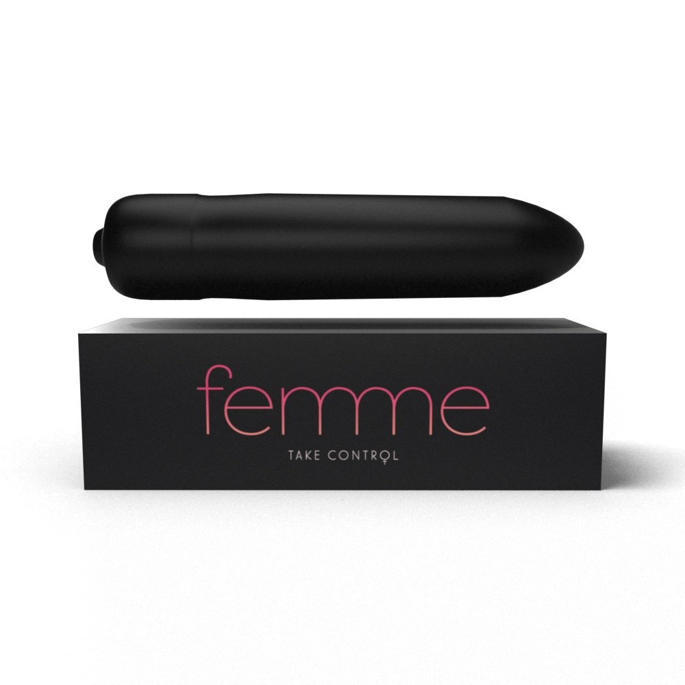 Femme Bullet Vibrator - Discreet & Easy-to-Use - 10 Different Vibration Modes - Comes with a Unique Satin Bag for Storage & Transport.