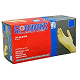 Ammex ILHD48100 Gloveworks Heavy Duty Powder Free Latex Gloves, 240mm Length, Beaded Cuff, Extra Large, Pack of 100 (Beige)