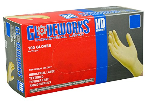 AMMEX - ILHD48100 - Latex Gloves - Gloveworks - Disposable, Powder Free, Industrial, 8 mil, XLarge, White (Case of 1000) by Ammex (Image #7)