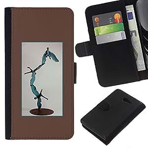 EJOY---La carpeta del tirón la caja de cuero de alta calidad de la PU Caso protector / Sony Xperia M2 / --Arte Estatua abstracta moderna Vuelo del muchacho
