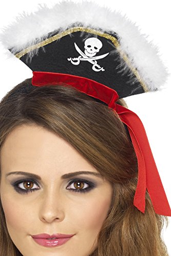Mock Mini Pirate Hat on (Black Pirate Mini Hat With Feathers)