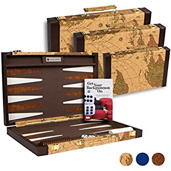 Amazon 18 inch leatherette backgammon set with beautiful old get the games out top backgammon set classic board game case best strategy tip guide small map color publicscrutiny Images