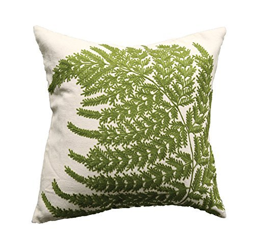 Creative Co-op White Square Cotton Pillow with Embroidered Green Ferns [並行輸入品] B07R6ZPRJB