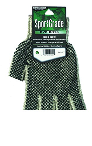 Dotted Palm Gloves (Magid RW110PT Men's Dotted Palm Fingerless Rag Wool Glove)
