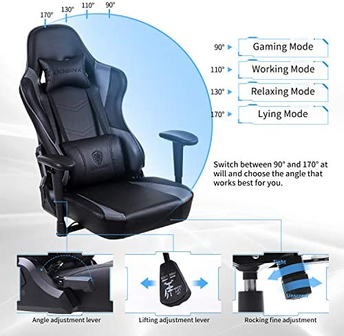 Dowinx Gaming Chair Ergonomic Office Recliner for Computer with Massage Lumbar Support, Racing Style Armchair PU Leather E-Sports Gamer Chairs with Retractable Footrest Grey 51rMAnWPYdL