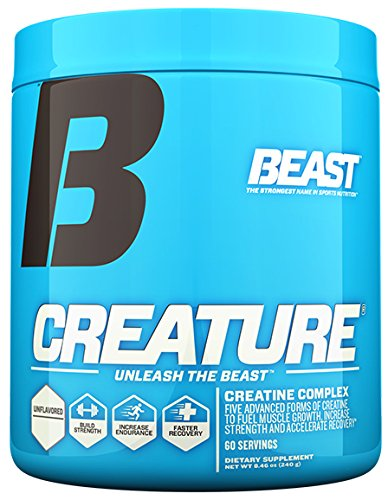 Beast Sports Nutrition Creature Creatine Complex- 5 High Quality Forms of Creatine + Creatine Enhancers To Build Muscle Fast. 2 Time Creatine Supplement of the Year. 300 Gms 60 Servings, Unflavored