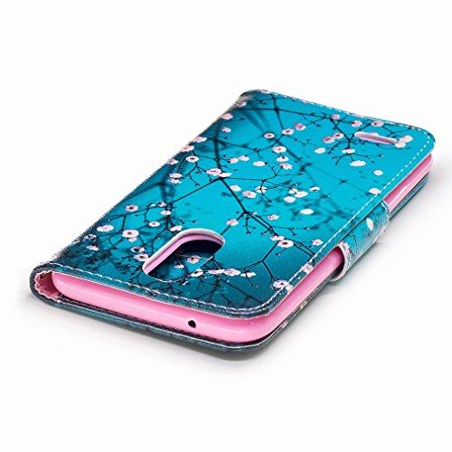 Yiizy LG K10 (2017) / LG X400 / LG M250N Custodia Cover, Fiore Plum Design Sottile Flip Portafoglio PU Pelle Cuoio Copertura Shell Case Slot Schede Cavalletto Stile Libro Bumper Protettivo Borsa