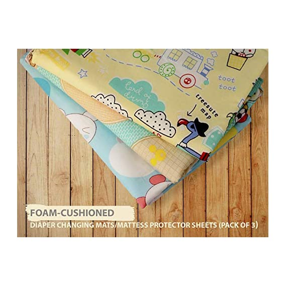 Bubbah Foam-Cushioned Waterproof Plastic Sheet Quick-Dry Diaper Changing Mat for Baby (Medium-45x60 cm)-Pack of 3