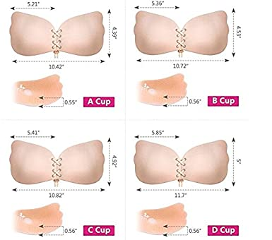 ForeMode Strapless Sticky Bra Adhesive Invisible Backless Bra with Drawstring Silicone