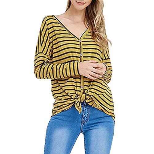 Kumike Fashion Womens Autuumn Button Down V Neck Top Long Sleeve Striped Blouses (XL, Yellow) -