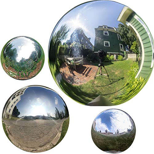 (HomDSim 4pcs 5in/6in/8in Diameter Gazing Globe Mirror Ball,Silver Stainless Steel Polished Reflective Smooth Garden Sphere,Colorful and Shiny Addition to Any Garden or Home)