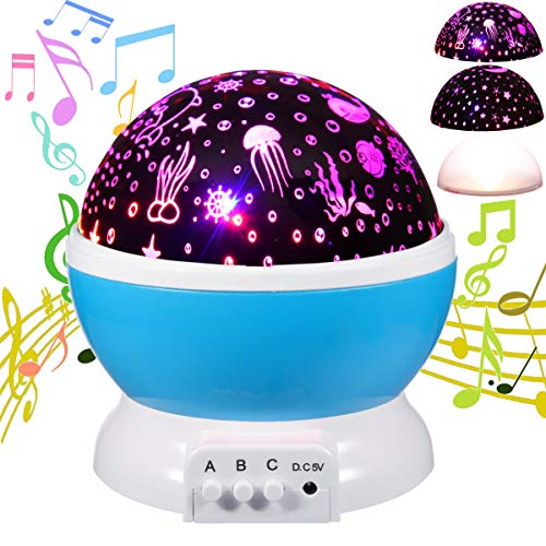 (HAMPAY Baby Star Music Night Light Projector Lamps for Kids,Moon Stars Cover+Undersea World Cover Projector Lights Romantic 360 Rotating 9 Color LED 12 Music for Girls Boys Baby Nursery Gifts(Blue))