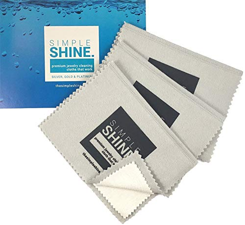 New Set of 3 Premium Jewelry Cleaning Cloths - Best Polishing Cloth Solution for Silver Gold & Platinum from Simple Shine.