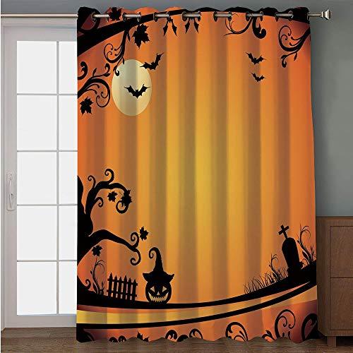(iPrint Blackout Patio Door Curtain,Vintage Halloween,Halloween Themed Image Eerie Atmosphere Gravestone Evil Pumpkin Moon Decorative,Orange Black,for Sliding & Patio Doors, 102