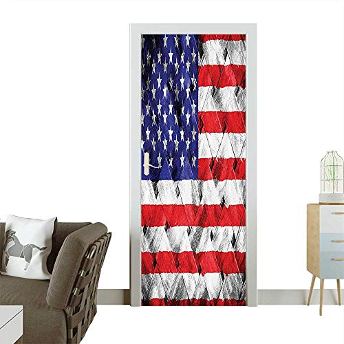 (Door Sticker Wall Decals Curtain Fourth of July Independence Thatch Rattan Rippled Weave Bambo Easy to Peel and StickW23 x H70)
