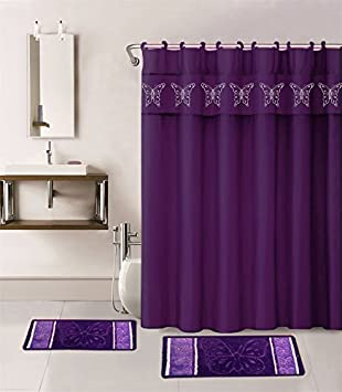 Gorgeous Home 15PC PURPLE BUTTERFLY DESIGN BATHROOM BATH MATS SET RUG CARPET SHOWER CURTAIN HOOKS NON