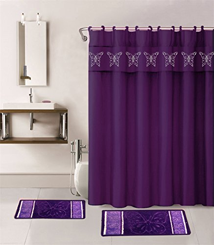 Golden Linens 18 Pieces Purple Color Embroidery Butterfly Design Bathroom Mats Set Non-slip Rug Carpet, Towels, Shower Curtain and Hooks
