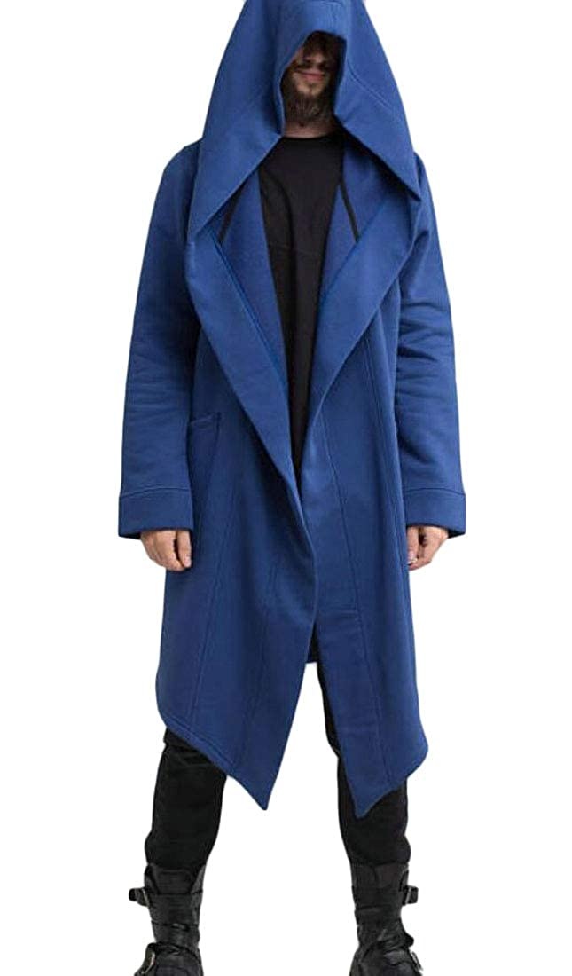 XiaoTianXinMen XTX Men Open Front Pockets Gothic Hooded Fashion Cardigan Jacket