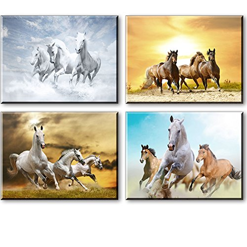 Horse Pictures Painting Canvas Wall Art Decor for Bedroom, Rustic Tan Horses Prints of Wild Western Steed Running in Sunset (Set of 4, Waterproof Artwork, 1