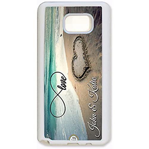 Samsung Galaxy S7 Edge Case, ArtsyCase Infinity Love Beach Heart Couple Personalized Name Phone Case - Samsung Galaxy S7 Edge (White) Sales