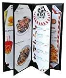 3 Pcs of Restaurant Menu Covers Holders 4.75'' X 11'' Inches, 4panel 6view,Sold By Case,With Clear PVC sheets for Paper Protection
