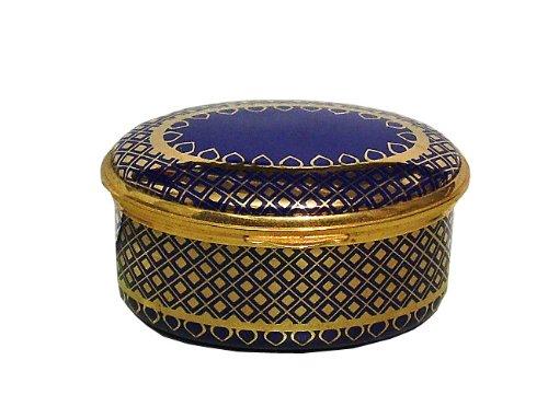 Oval Cobalt Blue and Gold Filigree Hinged Enamel -