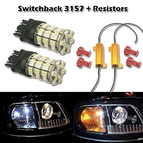 Partsam 2x 3157 White Amber Switchback LED Bulbs Front Turn