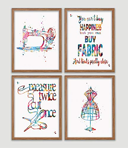 Sewing Watercolor Poster Set of 4 Sewing Room Art Print Craft Room Decor Seamstress Wall Decor Sewing Room Artworks Tailors Wall Art Home Decor Wall Hanging Gift For Sewer from Poster Soul