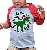 7 ate 9 Apparel Youth Christmas Dinosaur Raglan Shirt Red Small