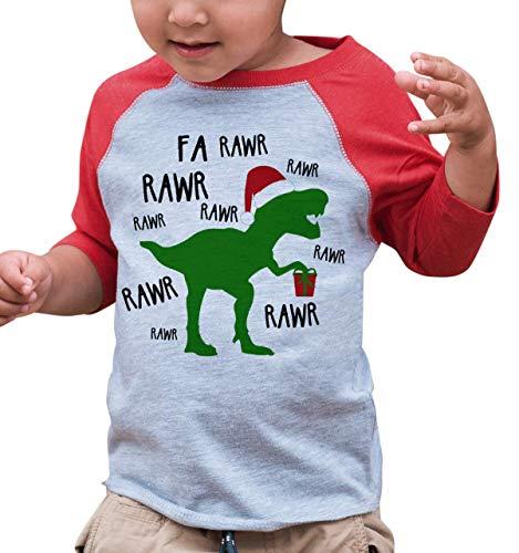 7 ate 9 Apparel Youth Christmas Dinosaur Raglan Shirt Red Large (Transfer Peel T-shirt)