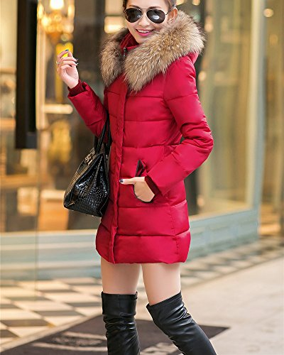 Rompevientos Invierno de de Mujer Ligero capucha con Chaquetas Chaqueta Chaqueta pluma Rojo Abajo tIxx4wXf