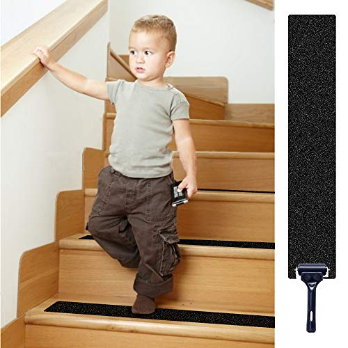 """(32""""x 4"""" Non-Slip Stair Treads Tape (16-Pack) - Tingpo Pre-Cut Black Anti-Slip Safety Indoor Strips with Roller for Stair Treads, Floors, Steps Supplies)"""