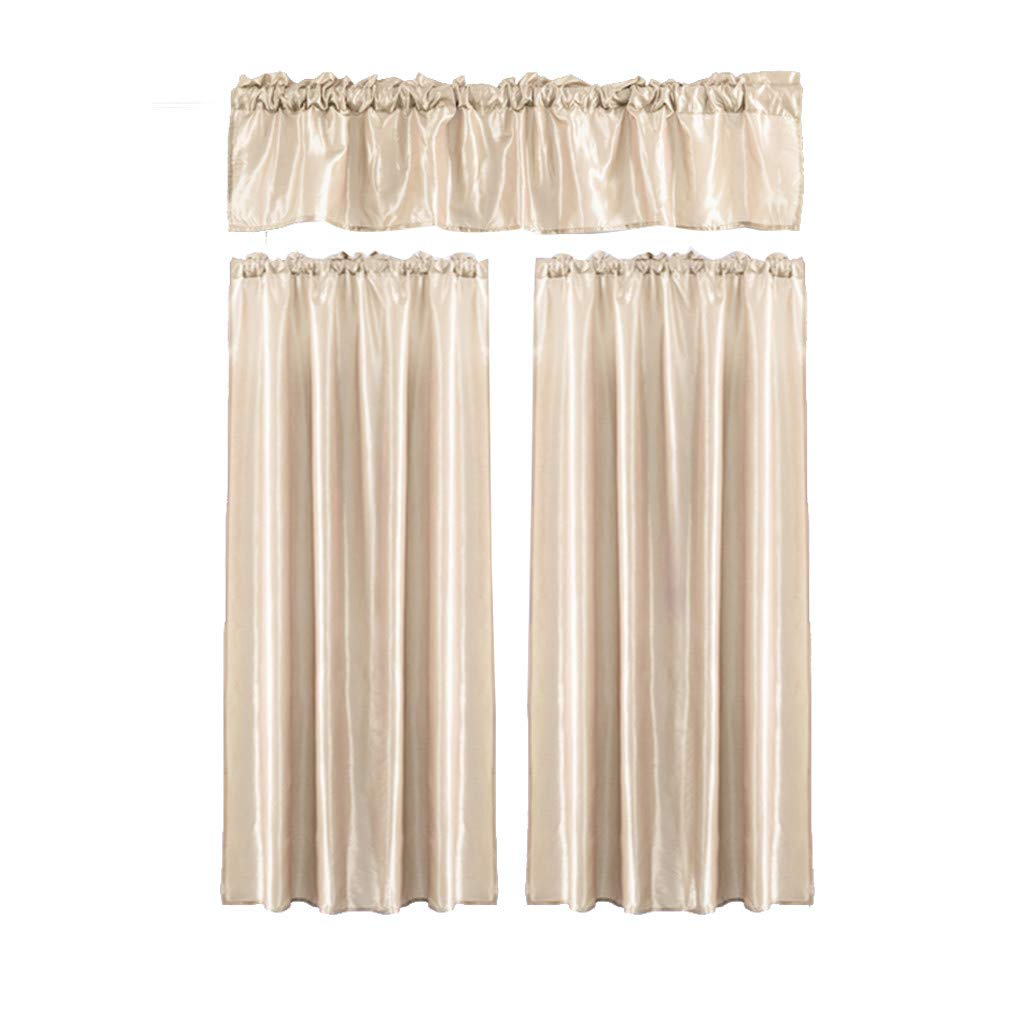 Iuhan 3Pcs Window Curtain Sheer Voile Panels for Kids Room, Kitchen, Living Room & Bedroom With Swag Tier Window Curtain Set (J)