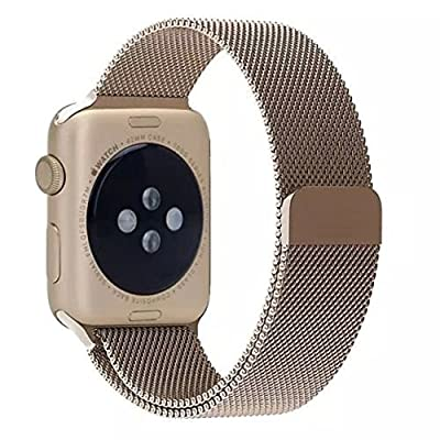 AWSTECH Stainless Steel Replacement Apple iWatch Band Milanese Loop with Magnet Lock No Buckle Needed For 38mm Apple Watch All Models - Retro Champagne Gold from AWSTECH