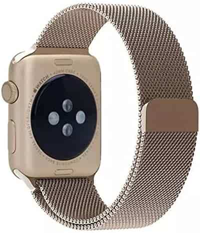 AWSTECH Stainless Steel Replacement Apple iWatch Band Milanese Loop with Magnet Lock No Buckle Needed For 38mm Apple Watch All Models - Retro Champagne Gold
