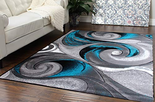 Masada Rugs, Modern Woven Area Rug, Hand Carved (8 Feet X 10 Feet, Turquoise) ()