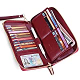 Womens RFID Blocking Wallet Real Leather Zip Around Clutch Large Travel Purse (Wine Red)