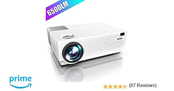 Proyector, YABER 6500 Lúmenes Proyector Full HD 1920x1080P Nativo Soporta 4K Corrección Trapezoidal 4D de ±50° Proyector Cine en Casa Altavoces Duales ...