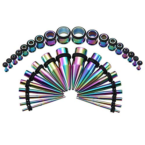 Jewelry Plugs Piercing - 36PCS Ear Gauge Stretching Kit Stainless Steel Tapers and Plugs Set Eyelet 14G-00G Body Piercing Jewelry