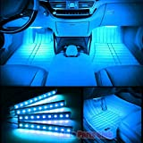 Car Interior Lights,Auto Parts Club 4pcs 12V Led Car Interior Lights/Car Atmosphere Light,Waterproof Glow Neon Light Strips Styling Interior Dash Floor Foot Decoration Light Lamp(Ice Blue)