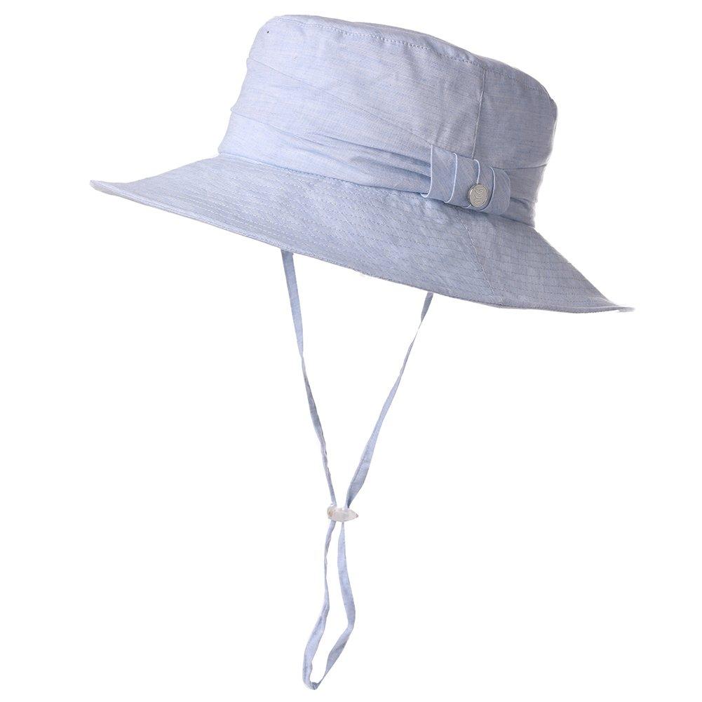 Womens Packable Sun Bucket Hat Beach Gardening Hiking Protection Fishing Bonnie SPF Blue