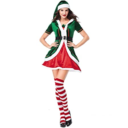QQWE Vestido De Duende De Navidad De Las Mujeres Vestido De ...