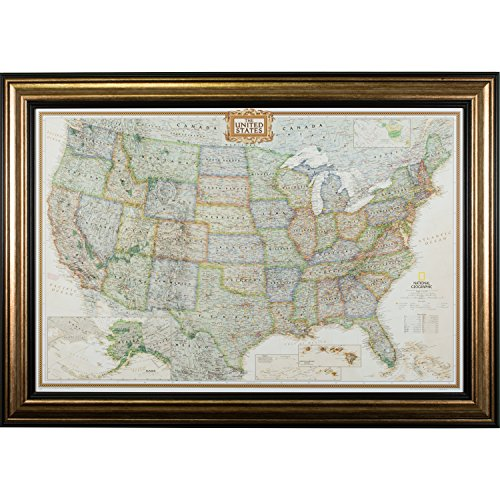 (Craig Frames Wayfarer, Executive United States Push Pin Travel Map, Antique Copper and Black Frame with Pins, 24 by 36-Inch)