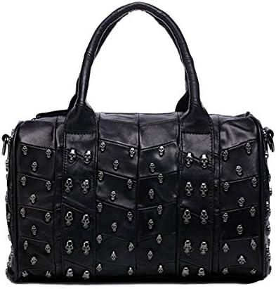 Bolso para mujer, bolsa de hombro, con calavera de diamantes, negro