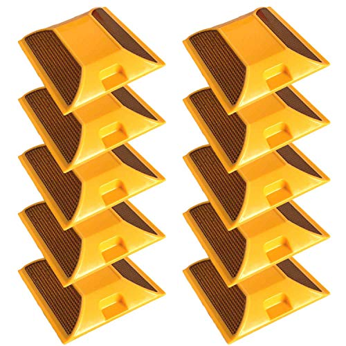 Stud Quartz Yellow - Merhoff & Larkin Road Reflectors Pack of 10 | 4 by 4 inch Street Pavement and Asphalt Stud Markers | Great for Speed Bumps, Sidewalks, Pedestrian Crossings, Freeways and Driveways (Yellow)
