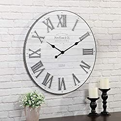 FirsTime & Co. Emmett Shiplap Wall Clock, 27, Galvanized Silver, White