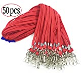 50 Pcs Cotton Lanyard Clip 32-inch Bulk Flat Red Lanyard with Swivel Hook Neck Lanyards for Key Chains ID Badge Clip(Red)