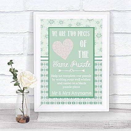 Cartel de boda personalizable, diseño de puzle de Navidad ...